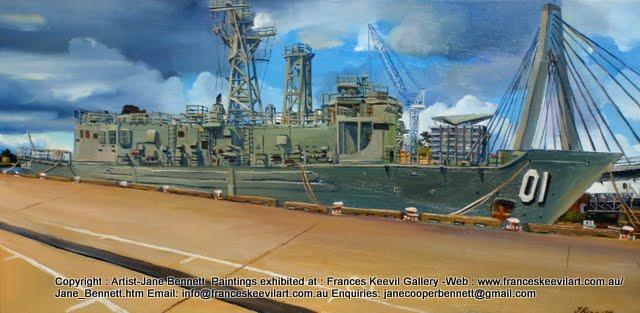 oil painting of ex-HMAS Adelaide and the Anzac Bridge at Glebe Island wharf by artist Jane Bennett