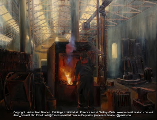 oil painting of blacksmith at the forge using heritage machinery and tools in the Eveleigh Railway Workshops by industrial heritage artist Jane Bennett