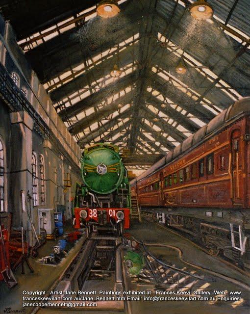 oil painting  of steam train 3801 in Eveleigh Railway Workshops by artist Jane Bennett