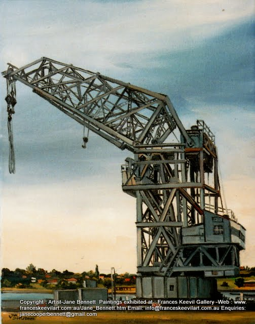 oil painting of the Titan crane on Cockatoo Island  by artist Jane Bennett