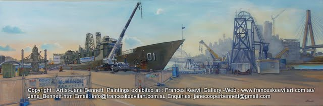 oil painting of ex-HMAS Adelaide, Sydney Harbour Bridge, Jackson's Landing Pyrmont and the Anzac Bridge at Glebe Island wharf by artist Jane Bennett