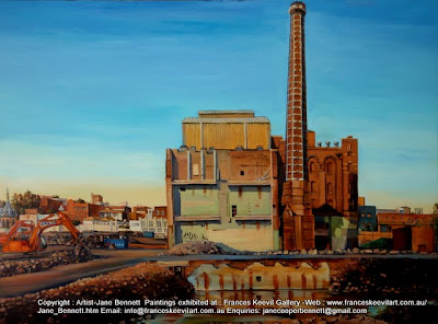 Plein air oil painting of the Carleton United Brewery site being demolished,  painted by industrial heritage artist Jane Bennett