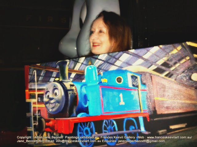 artist Jane Bennett painting Thomas the Tank engine in Eveleigh Railway Workshops