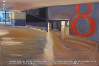 oil painting of interior of the now demolished  Wharf 8 cruise ship terminal at Barangaroo by industrial heritage artist Jane Bennett