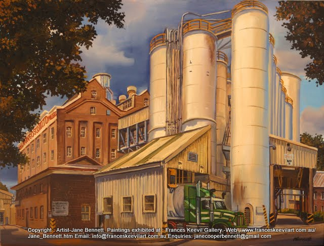 Mungo Scott Flour mills with truck Summer Hill painted by Jane Bennett, industrial heritage artist