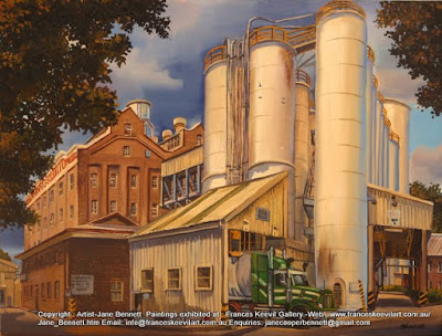 Plein air oil painting of  the Mungo Scott Flour Mills in Summer Hill painted by industrial heritage artist Jane Bennett