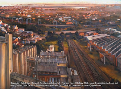 Plein air oil painting from the top of the silos of the Mungo Scott Flour Mills in Summer Hill painted by industrial heritage artist Jane Bennett