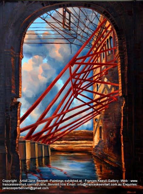 oil painting of ex gasworks AGL SIte Mortlake, now Breakfast Point by artist Jane Bennett