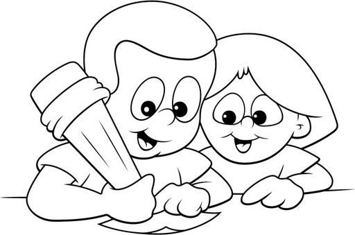 Dibujo De Bolígrafo Infantil Y Libreta Para Colorear: Dibujos Para Colorear Lecto Escritura
