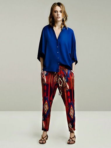 zara-blue shirt ikat pants
