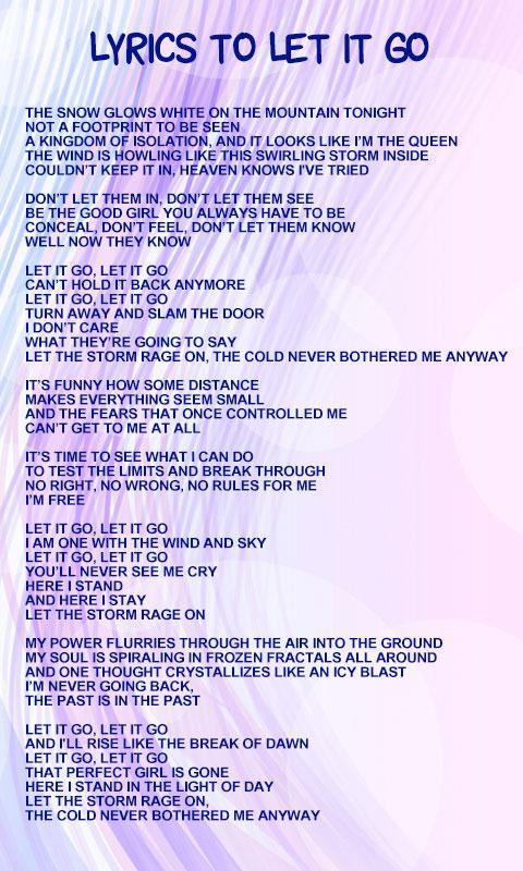 Frozen World Lyrics Android Apps On Google Play