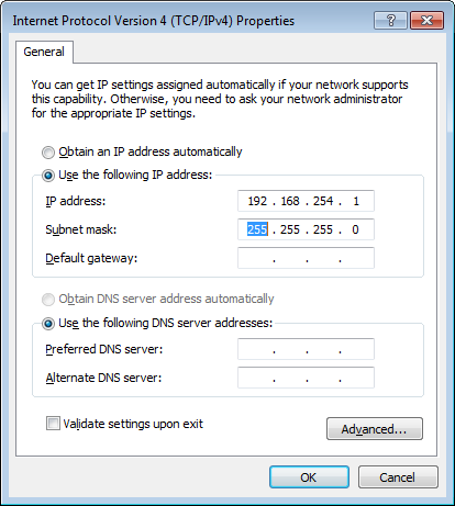 Windows 7 TCP/IPv4 Properties