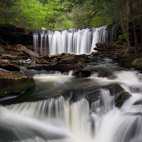 Below Oneida Falls by Tim Devine - Landscapes Waterscapes ( oneida falls, kitchen creek, waterfall, pennsylvania, ricketts glen state park, ganoga glen, ricketts glen,  )