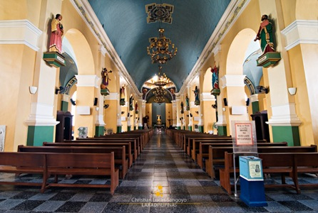 Inside Jaro Cathedral, Male Saints Line the Hall
