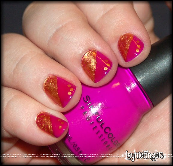 Simple Nail Art With 2 Colors: Layniefingers: Nail Art Take Two- A Simple Design Using