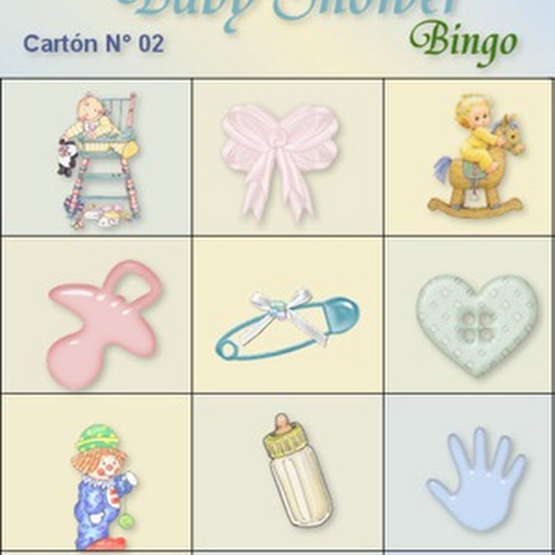Bingo para descargar Baby Shower.