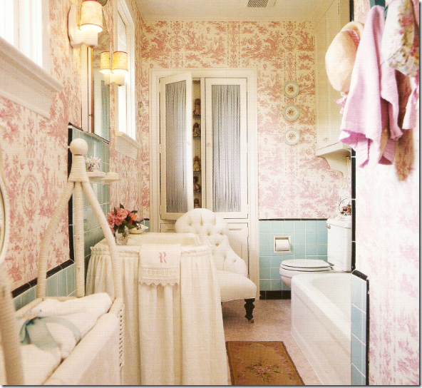 The Princess Bathroom With Original Turquoise Blue Tiles Lauren Put In Pink Toile Wallpaper I Think This Is To Die For