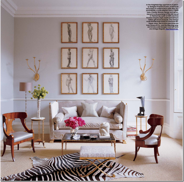Alex Papachristidis Uses Creamy Sisal In This Ny Apartment I Love The Zebra Layered Over Rug But Gold Framed Prints And Sconces Are True