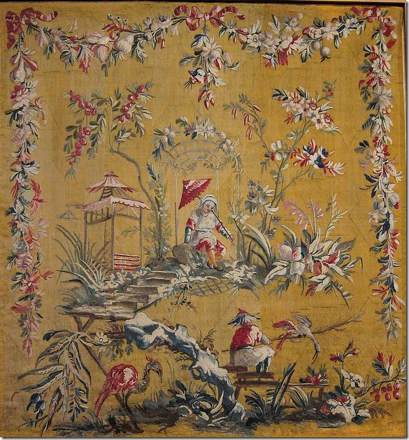 An museum owed original tapestry by Jean Baptiste Pillement. Beautiful