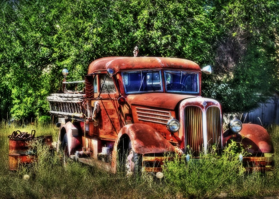 Fires out by Debbie Sodeman-Roelle - Transportation Other ( washington, old, hdr, grass, curlew, trees, fire truck, rusty )