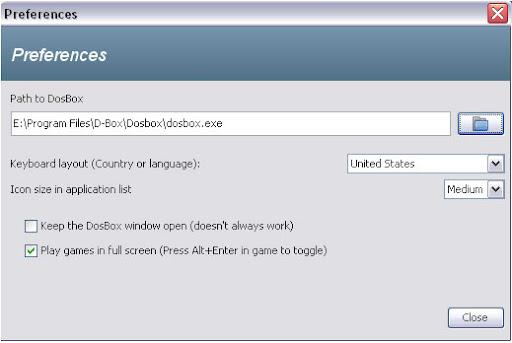 DOSBOX-DBox-Run Dos Programs in Windows Vista windows 7 preferences logo games shortcut