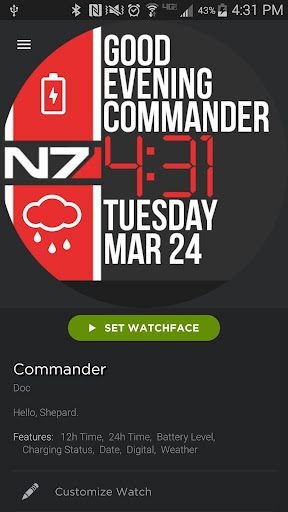 Commander watch face