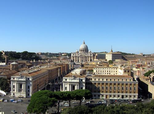 Vatican city và nhà thờ thánh Peter nhìn từ Castel del Angelo