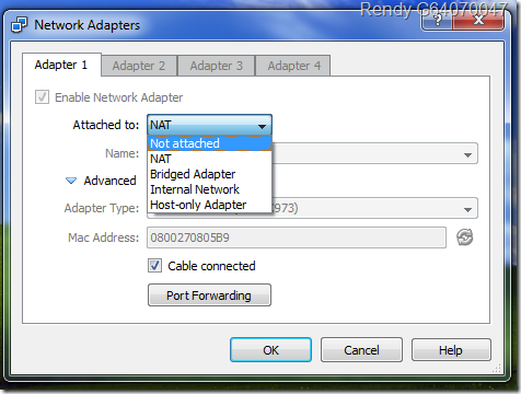 Mode Network di VirtualBox