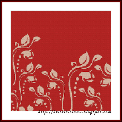 Stitched design of Floral #3 (Red Curl)