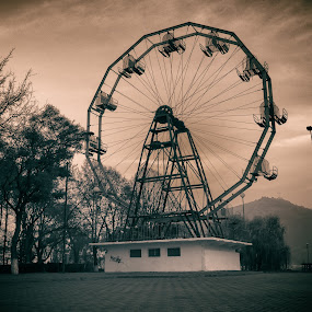 Remnants of the Communist Era by Petrea Ionut - Black & White Buildings & Architecture ( park, black and white, remnant, communism, ferris wheel,  )