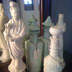 Quan Yin figurine and jadeite decanters