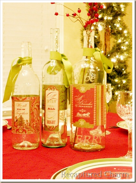 Recaptured Charm Etched Wine Bottle Candle Holders