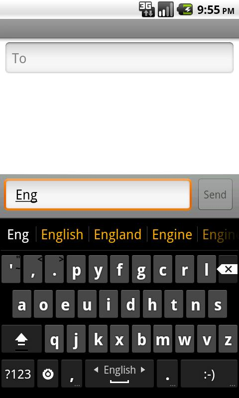English completion dictionary- screenshot