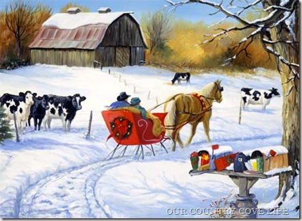 Country Christmas cows with sleigh