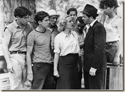 John Garfied (dark hat), Ann Sheridan, the Dead End Kids