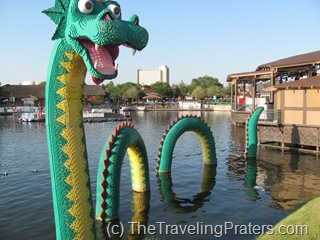 Lego serpent at Downtown Disney