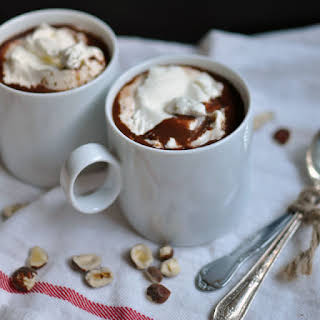 Hazelnut Hot Chocolate with Minted Whipped Cream.