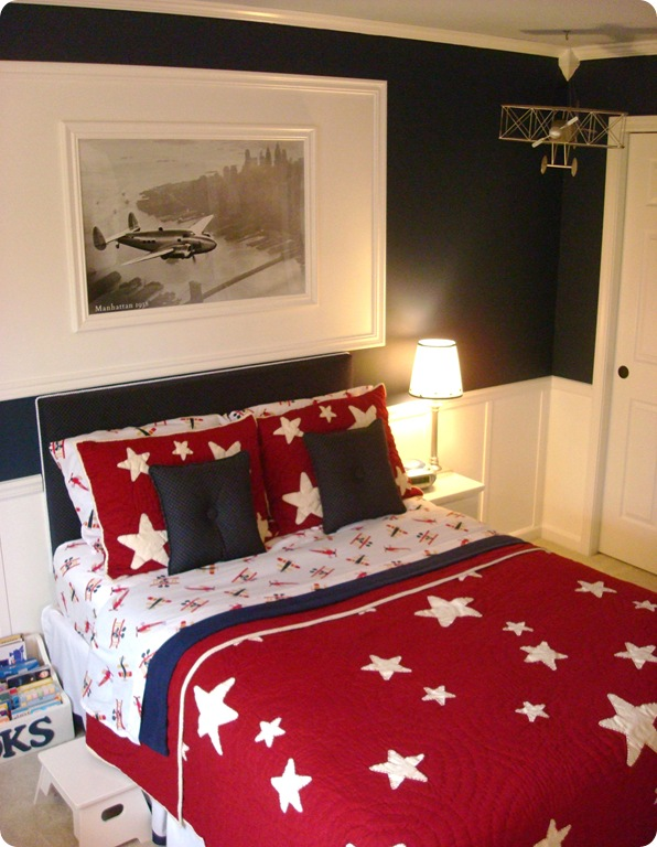 Red white star bedding boy room