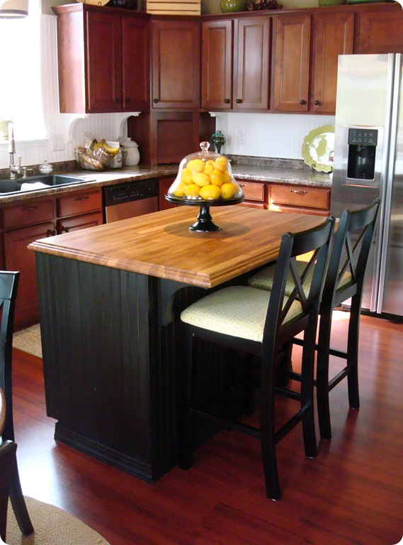 butcher block and beadboard island