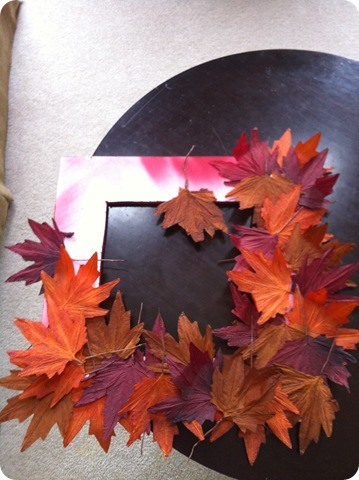 Using dollar store leaves for fall wreath