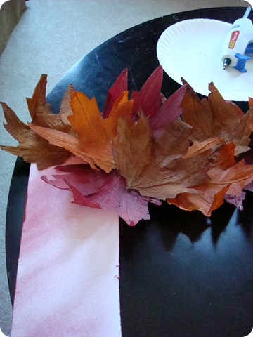 DIY fall wreath with dollar store leaves