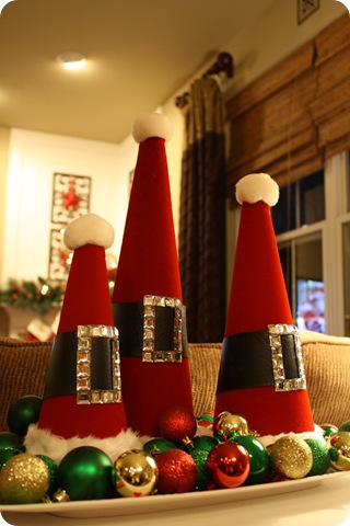 our ikea sofa table is decked out as well its the perfect spot for my santa hats - Christmas Decorations For Sofa Table