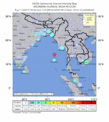 Andaman Island earthquake map