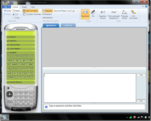 Microsoft Mathematics 4.0 Graphing Calculator screenshot