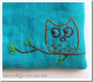 owl embroidery close up
