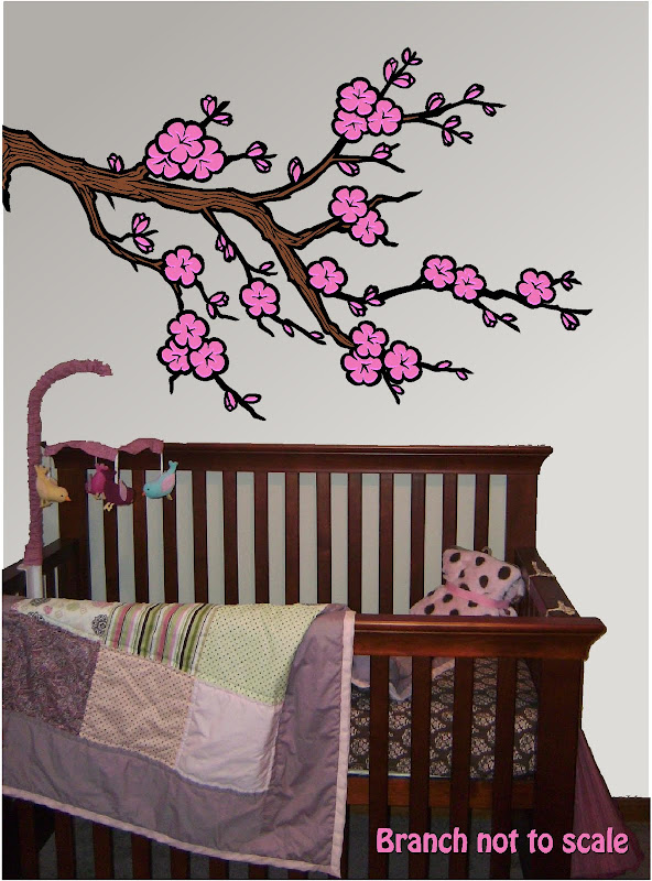 New Cherry Blossom Tree Branch Vinyl Childerns Wall Art