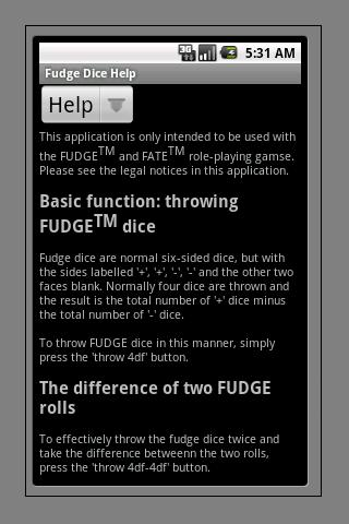 FUDGE Dice - screenshot