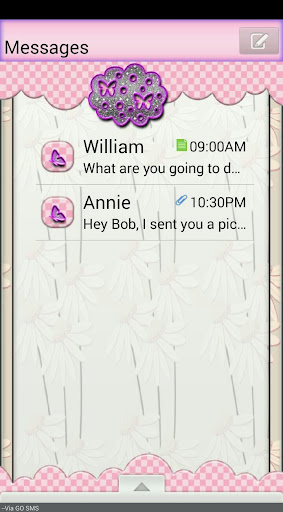GO SMS THEME DelicateFlowers2