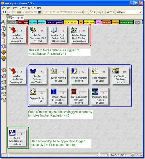 NotesTracker usage log repository configuration flexibility