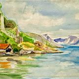 zomer aan de fjord, aquarel